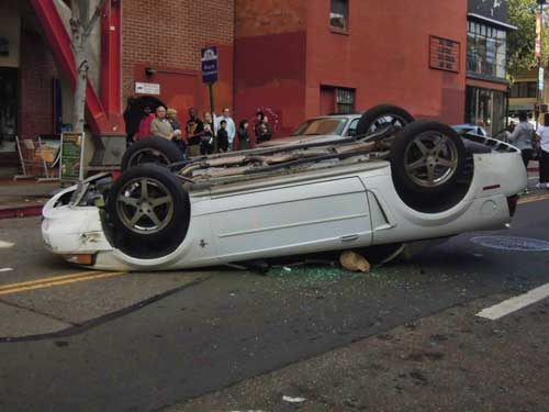 Flipped-out Mustang on Channing.