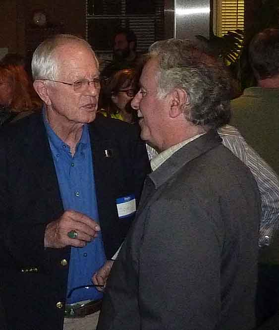Mayor Tom Bates, who made a cameo appearance at the beginning of the forum, chatted in the lobby with John Gordon, local commercial property owner and real estate broker whose signs are on many downtown Berkeley buildings.