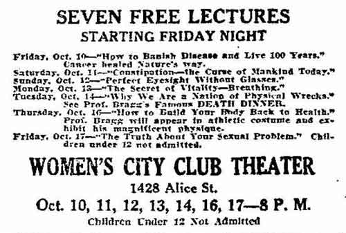 The seven Bragg lecture titles, as presented in an October 6, 1930 Tribune advertisement.