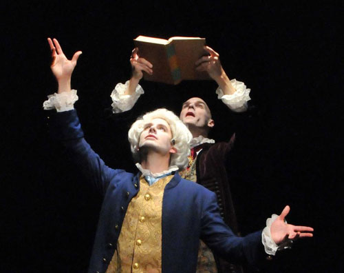 "Joe Jordan as Franz Anton Mesmer and Theo Black as Antoine Lavoisier at Julia Morgan's ""Little Castle"" Berkeley City Club"