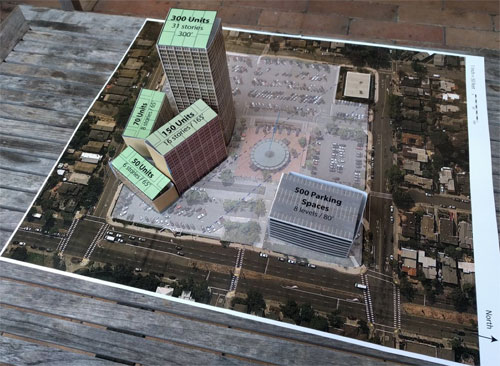 This shows the scale model of  what YIMBYs would like to build in North Berkeley.  Yes, that's a 31 story building.