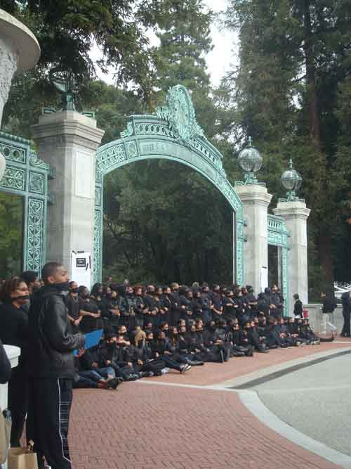 Black students at UC Berkeley protest racist acts at UCSD Monday.