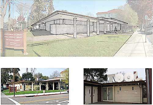 The South Berkeley Library. Photos are of the existing structure, and architect Todd Jersey's rendering illustrates his proposal for remodeling and expanding it to meet current needs.  The view is of the entrance at the corner of Russell Street.