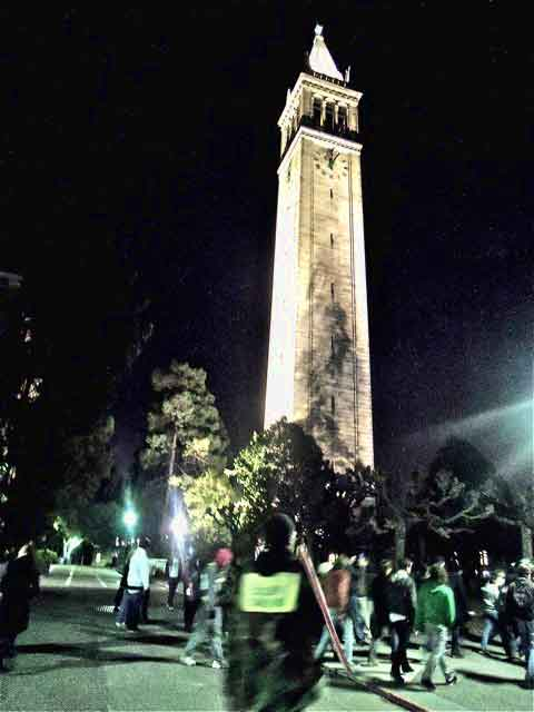 Occupy Cal and Occupy Oakland in their first team-up ten days ago. the smoke at the base of the campanile is all smoke, no fire.