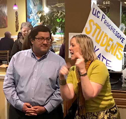 Berkeley Mayor Jesse Arreguin celebrated on Tuesday night with Kate Harrison, after preliminary election returns indicated that she will be his successor in City Council District 4.