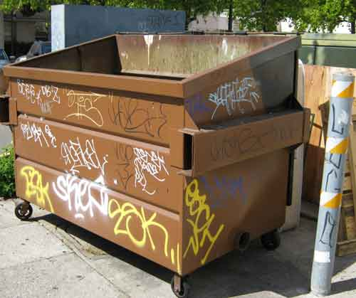 Dumpsters are targets-of-opportunity for urban taggers canvassing the neighborhoods in search of, well, canvases. This four-wheeled art gallery was spotted at the Herrick Campus of the Alta Bates Summit Medical Center.