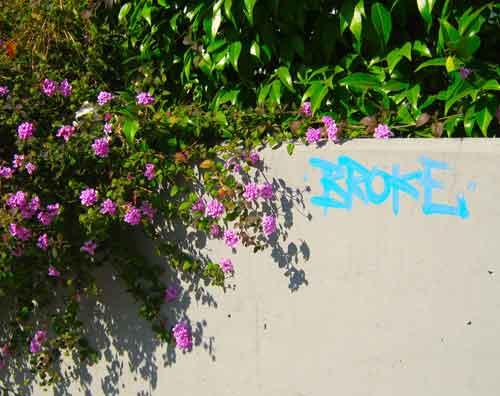 "When graffiti pops up on a wall, the location of the wall can provide context for the message. Case in point: This simple message -- ""Broke"" – was neatly sprayed on a campus wall at UC Berkeley."