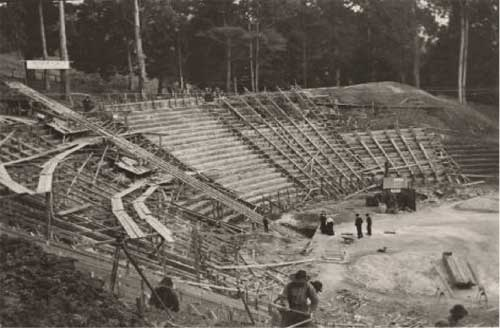 Outdoor seating under construction over earth terracing at the Greek Theatre, 1903. Courtesy, Bancroft Library, UC Berkeley