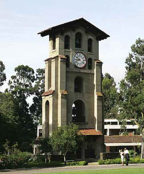 "Architect Julia Morgan's ""El Campanil"" clock and bell tower at Mills College, Oakland was the first structure built in reinforced concrete in the western United States, 1904."