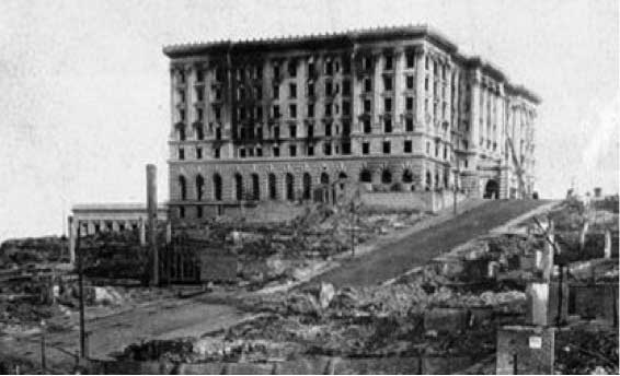 The Fairmont Hotel, San Francisco, damaged in the 1906 earthquake and fire