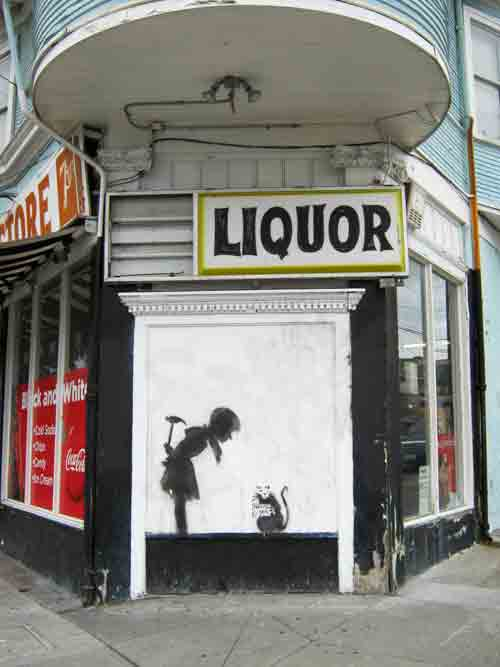 "The image appeared several years ago, about the time Banksy was painting the town. But was this a Banksy original? Not according to the art-hip manager of Black and White who pointed to the message on the sign clutched by the rodent and noted: ""Banksy don't use no felt-tip pens!"""