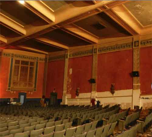 The battered, but largely intact, interior of the theatre was set up with a panel displayed renovation plans.