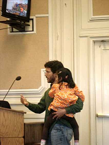 Southside Lofts homeowner Scott Stoller told the City Council Tuesday that the lack of an attendant at the laundromat would put his 4-year-old daughter Arunima's safety at risk when she played in the condo complex.