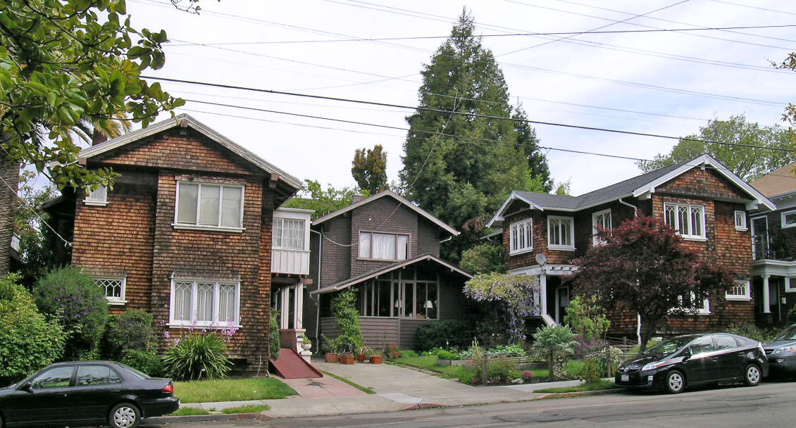 2615, 2617, 2619 Parker St., designed by Julia Morgan for Louise Goddard in 1905.