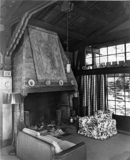 The concrete fireplace in the Maybeck Studio, 1950s.