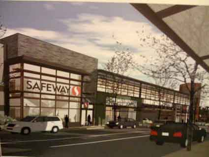 Safeway's rendering of the new store, as seen from the west side of College Avenue.