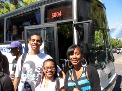 Students prepare to board the bus at Skyline High in Oakland.