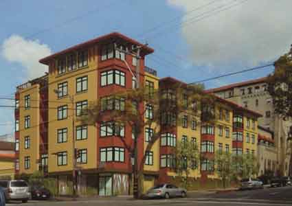 The development firm of Hudson McDonald showed the Landmarks Commission this image depicting a proposed new five story-over-garage residential infill building at the northeast corner of Durant and Ellsworth.   St. Mark's Church is at the left, with the domed towers, and the Berkeley City Club is on the right.