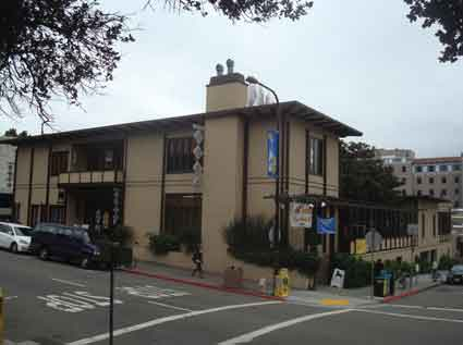 The Joseph Esherick designed University YWCA building at Bancroft Way and Bowditch Street was designated Berkeley's newest landmark at the May 6, 2010 meeting. (Photo, Steven Finacom)