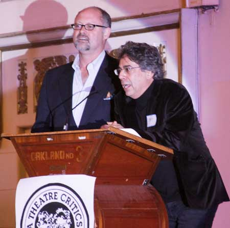 Jonathan Moscone of Cal Shakes and Tony Taccone of Berkeley present awards at the Gala
