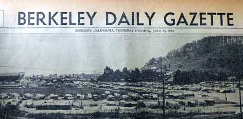 A panoramic photo of the El Cerrito trailer camp in 1944 ran across the top of the Berkeley Gazette's second section. Here's part of the view, with Albany Hill in the right rear background.