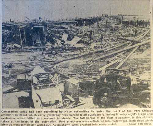 The Berkeley Gazette ran days of photos following the disaster, including these two. One shows the landward devastation at the ammunition depot, while the other looks out to the water. The two black arrows upper right point to the remaining, partially sunken, sections of one of the cargo ships. The other ship disappeared in the blast, shattered into small fragments.
