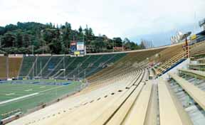 If UC Berkeley officials don't fix the crumbling Memorial Stadium first, they could be endangering the lives of student athletes at the 132,500-square-foot training center they plan to build next to the stadium's west wall, right, warns Berkeley Planning Director Dan Marks. Photograph by Richard Brenneman.