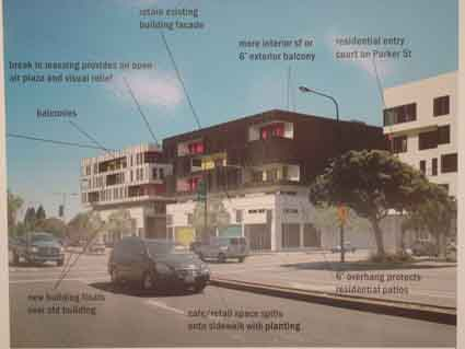 The street level photomontage, presented by the developer at the Design Review Committee meeting, shows the proposed development along Shattuck at Parker.