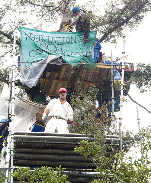 A tree-sitter watches as a member of the scaffold crew looks out over the crowd that had gathered to witness the final hours of the protest on Tuesday.