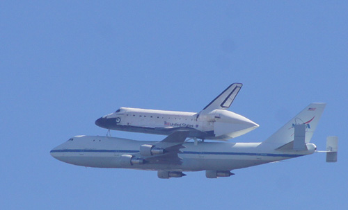 The NASA Shuttle as seen over Berkeley