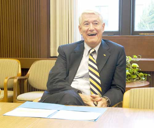 UC Berkeley Chancellor Robert Birgeneau announces the fund-raising drive on Friday.