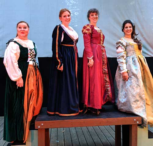 "Rachel Warner, Cheryl Moore, Eliza O'Malley and Kristin Genis-Lund are ""the merry wives of Windsor"" in Verdi's FALSTAFF"
