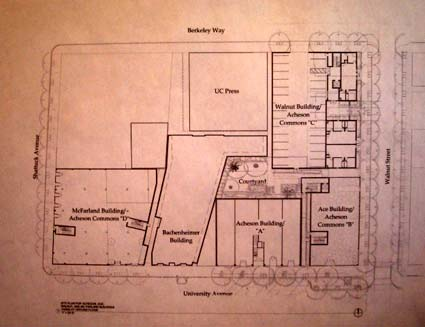 A site plan for the development, with University Avenue at the bottom.