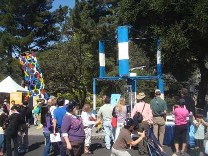 Visitors could examine an urban scale wind turbine, next to a balloon model of