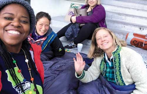 Sally Hindman (at right) organized a sleep-out at Old City Hall last winter in protest of Berkeley's anti-homeless laws. A longtime homeless advocate and an original co-founder of Street Spirit, Hindman is now involved in the campaign to save the paper