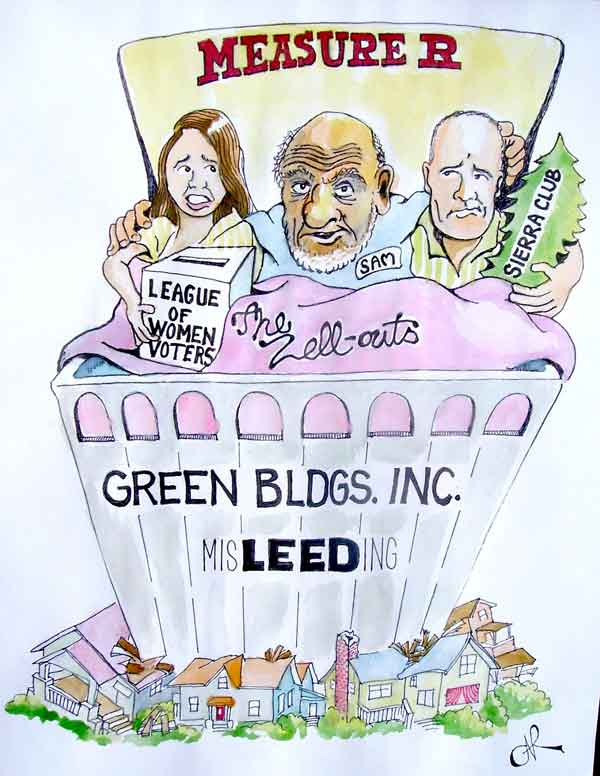 Here's the first entry which has come in for the Planet's Sam Zell cartoon contest, depicting developer Zell, whose Equity Residential corporation funded a mailing which went out under the logos of the Sierra Club and the League of Women Voters, in bed with both organizations.  More entries have been promised, so the deadline has been extended for an indefinite period. Voting in the contest will start next Monday.
