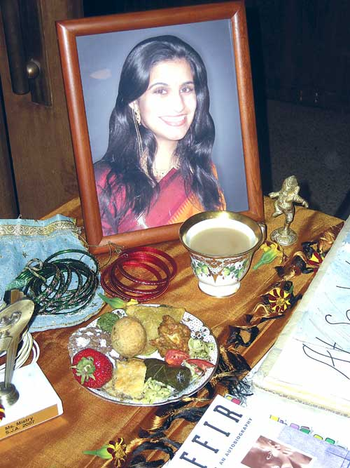 Students created an altar at a memorial last Thursday for Berkeley High School teacher Kalpna Mistry who died in August.