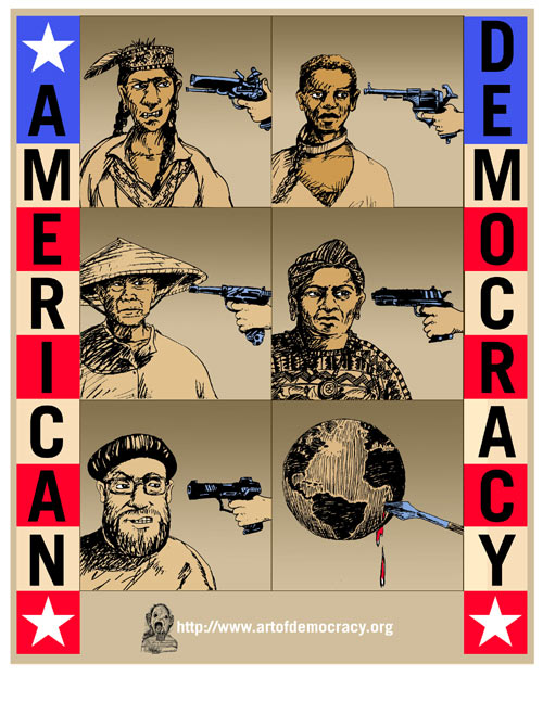 "A poster by Jos Sances, one of the works in ""Art of Democracy"" banned from the Addison Street Gallery."
