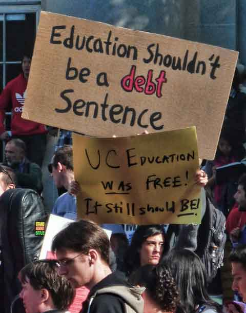 """Education Shouldn't Be A DEBT Sentence"" and ""UC Education Was Free!  It Still Should Be!"""