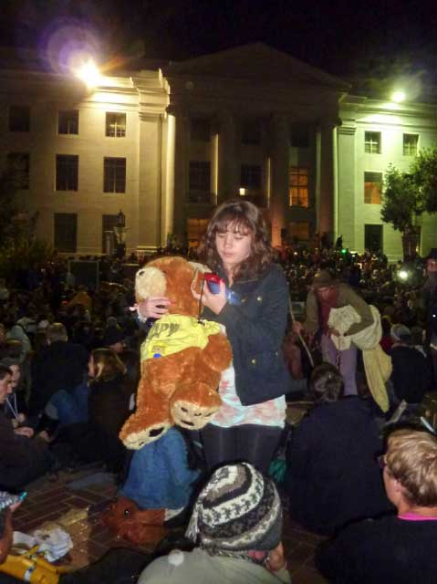 "One demonstrator bought a stuffed Cal bear, with an ""Occupy"" T-shirt to the General Assembly."