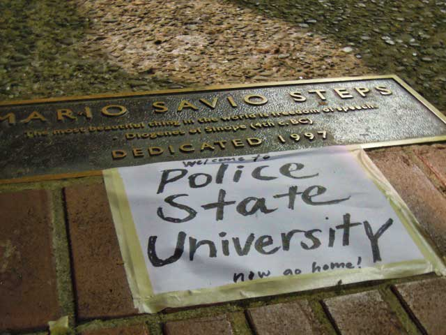 "In the shadow of Mario Savio, Thursday night,  at occupy Cal. Plaque reads: ""The most beautiful thing in the world is freedom of speech.""--Diogenes"