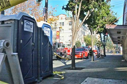 It took a major fire to bring restrooms to telegraph. Telegraph blocked-off Saturday as Sequoia fire (in distance) smolders. Amoeba, to right was closed until Monday.