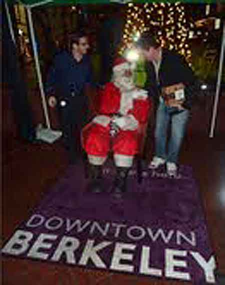 Santa occupied a stretch of Downtown sidewalk for the tree lighting festivities and wasn't told to move along.