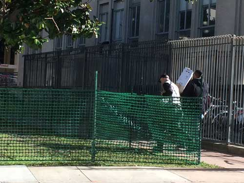 A new fence surrounds the disputed setting which homeless protesters had been promised would not be raided after Mayor Arreguin took office.