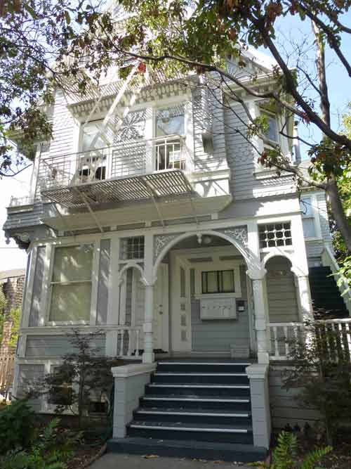 "The Victorian house at 2400 Dana which served as Dustin Hoffman's boarding house in ""The Graduate""."