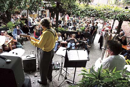 Dream Kitchen performs at Jupiter during the Downtown Berkeley Jazz Festival in August. Photograph by Hali McGrath.